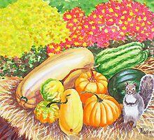 A Squirrel and Pumpkins by Natalia Piacheva