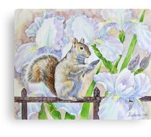 The Squirrel and Flowers Canvas Print