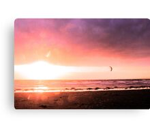 Kitesurfer At Sunset - Red Canvas Print