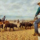Cattle Penning at White Stallion Ranch by Linda Gregory