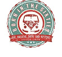 Retro Badge Sixties Red Green Grunge by splashgti