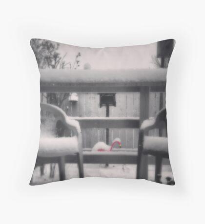 Cold Flamingo Throw Pillow