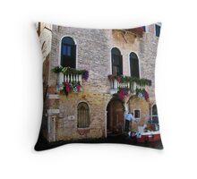 Visiting via Motorboat, Venice Throw Pillow