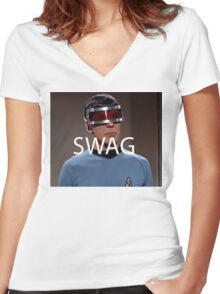 Spock Swag. Women's Fitted V-Neck T-Shirt