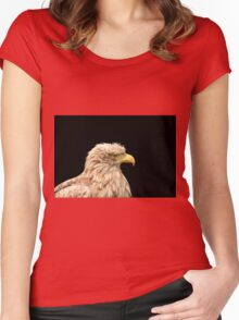 European white tailed eagle isolated on black Women's Fitted Scoop T-Shirt