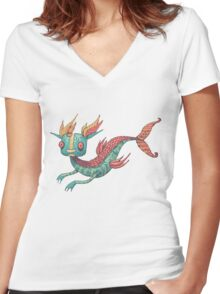The Fish Dragon Women's Fitted V-Neck T-Shirt