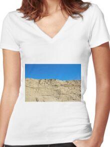 desert sand dune wind erosion Women's Fitted V-Neck T-Shirt