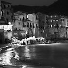 Cefalù, Sicily. The Waterfront at Night in BW. by Igor Pozdnyakov