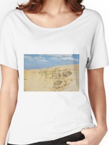 desert with sandy hills and blue sky Women's Relaxed Fit T-Shirt