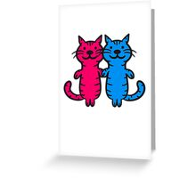 2 couples cats love Greeting Card