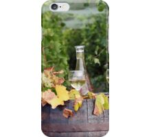 vineyard with white wine and old wooden barrel iPhone Case/Skin