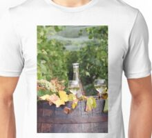 vineyard with white wine and old wooden barrel Unisex T-Shirt