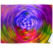 Red Radio Waves Abstract Poster