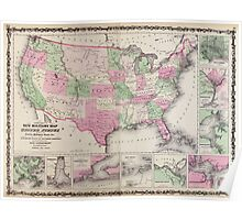 Civil War Maps 0536 Johnson's new illustrated steel plate family atlas with descriptions geographical statistical and historical Poster