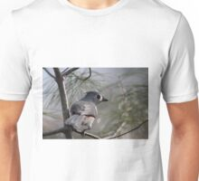 Tufted titmouse perched in a pine tree Unisex T-Shirt