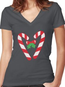 Christmas candy canes with a bow Women's Fitted V-Neck T-Shirt