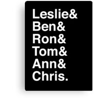 Leslie & Ben & Ron & Tom & Ann & Chris. (Parks & Rec) (Inverse) Canvas Print