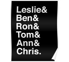 Leslie & Ben & Ron & Tom & Ann & Chris. (Parks & Rec) (Inverse) Poster