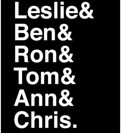Leslie & Ben & Ron & Tom & Ann & Chris. (Parks & Rec) (Inverse) Sticker