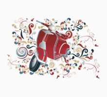 Retro illustration with red scooter, colorful swirls and floral elements Kids Tee