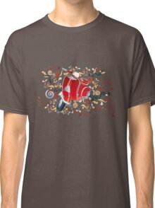 Retro illustration with red scooter, colorful swirls and floral elements Classic T-Shirt