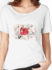 Retro illustration with red scooter, colorful swirls and floral elements Women's Relaxed Fit T-Shirt