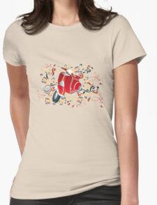 Retro illustration with red scooter, colorful swirls and floral elements T-Shirt