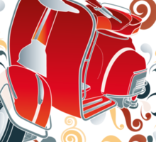 Retro illustration with red scooter, colorful swirls and floral elements Sticker