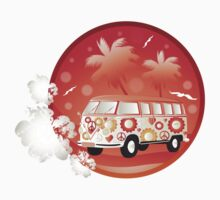 Retro bus with floral patterns  One Piece - Long Sleeve