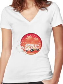 Retro bus with floral patterns  Women's Fitted V-Neck T-Shirt