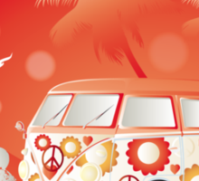 Retro bus with floral patterns  Sticker