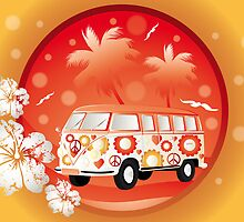 Retro bus with floral patterns  by schtroumpf2510
