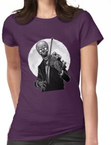 Dark Skeleton Violinist Womens Fitted T-Shirt