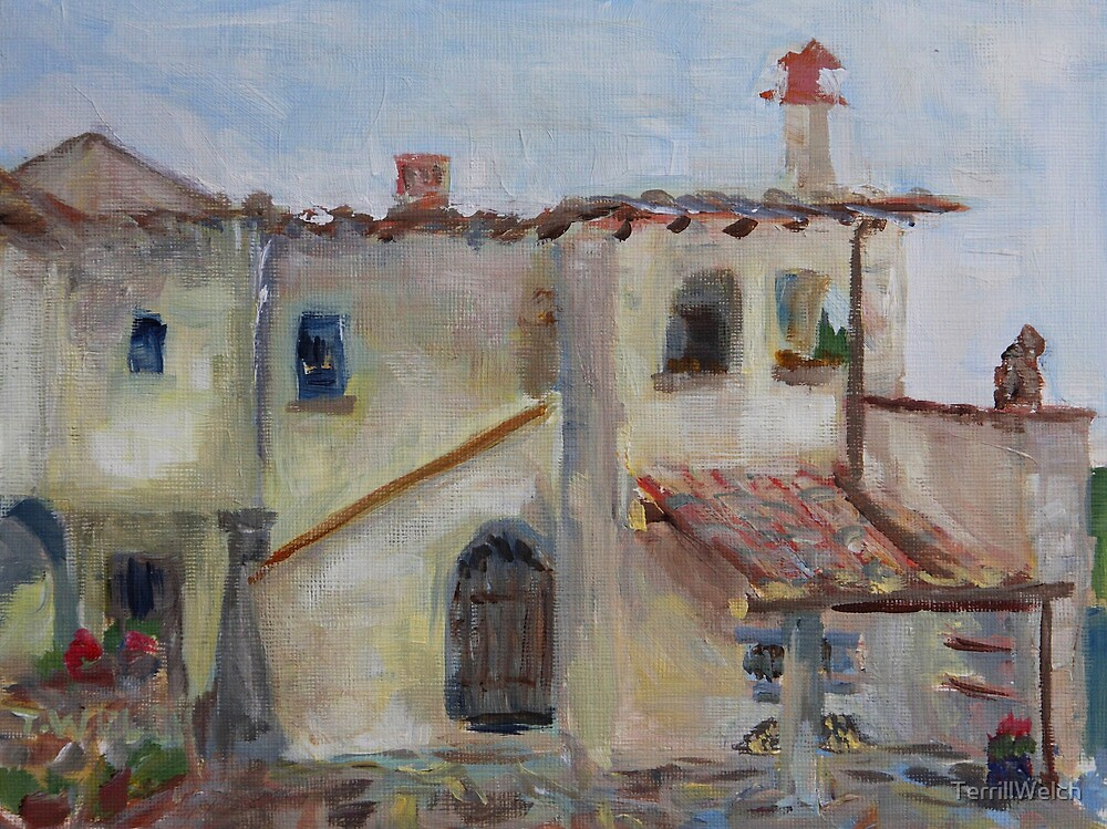 Farmhouse courtyard Florence Italy  by TerrillWelch