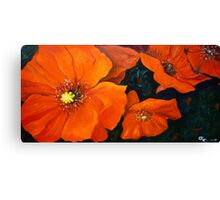 Red Poppies Flower Painting Oil on Canvas Canvas Print