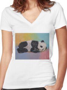 Baby Panda Rainbow Women's Fitted V-Neck T-Shirt