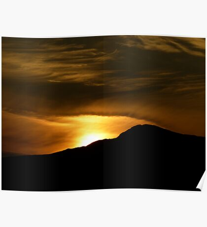 Sunset over the Mountain Poster