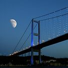 Half Moon over Bogaz Bridge, Istanbul by Zoe Marlowe
