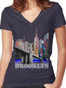 Brooklyn Bridge graffiti Women's Fitted V-Neck T-Shirt