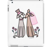 Greyhound Wedding Couple - pink iPad Case/Skin