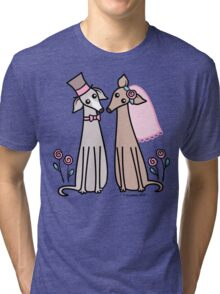Greyhound Wedding Couple - pink Tri-blend T-Shirt