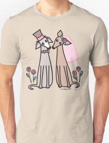 Greyhound Wedding Couple - pink Unisex T-Shirt