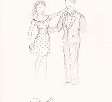 New Earth Janeway/Chakotay: Pinstripes and Polka Dots (pencil) by mugs-munny