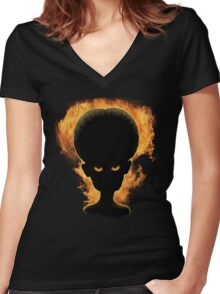 Big Brain Evil Mastermind Firestarter Women's Fitted V-Neck T-Shirt