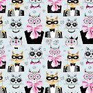 pattern cats hipsters by Tanor
