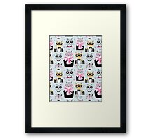 pattern cats hipsters Framed Print