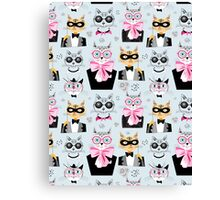 pattern cats hipsters Canvas Print