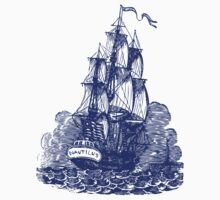 Sailing Ship | Schooner | Navy Blue & White Kids Tee