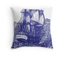Sailing Ship | Schooner | Navy Blue & White Throw Pillow