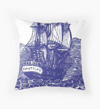 Sailing Ship | Schooner | Navy Blue and White Throw Pillow